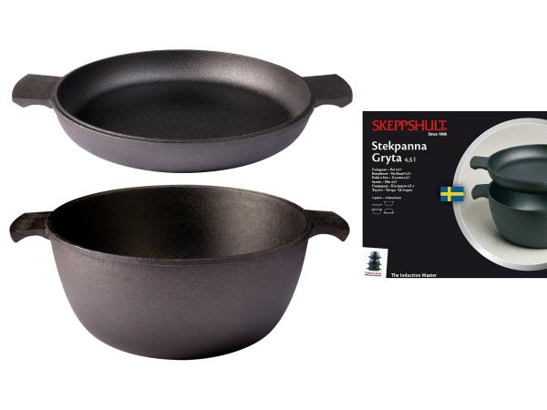 SK-0610-2 Skeppshult Bräter Set Bräter 4,5 Liter und Bratpfanne 27 cm